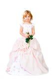 Liten flicka i ursnygg klänning över white Royaltyfria Bilder