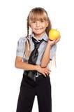 Liten flicka med äpplet Royaltyfria Foton