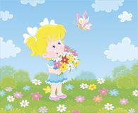 Liten flicka med blommor och en fj?ril stock illustrationer