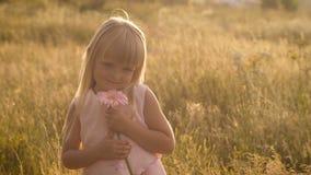 Liten flicka med en blomma på naturen