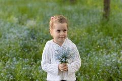Liten flicka med en bukett av glömma-mig-nots i hennes händer på en blommig äng royaltyfri bild