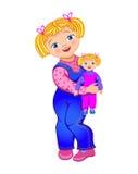 Liten flicka med en docka stock illustrationer