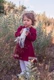 Liten flicka med en duva Royaltyfri Foto