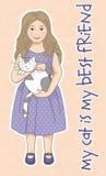 Liten flicka med en katt Arkivfoto