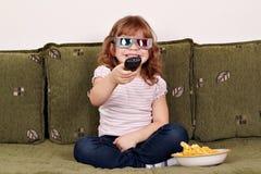 Liten flicka med exponeringsglas 3d Fotografering för Bildbyråer
