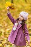 Liten flicka med gula lönnlöv Arkivbild