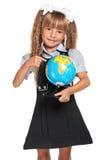 Liten flicka med jordklotet Fotografering för Bildbyråer