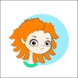 Liten flicka med lockigt rött hår stock illustrationer