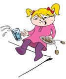 Liten flicka med mjölkar och kakor Arkivbild