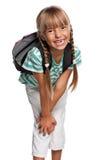 Liten flicka med ryggsäck Arkivbilder