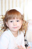 liten flicka med Santa Claus Arkivfoto