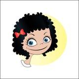 Liten flicka med svart lockigt hår stock illustrationer