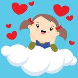 Liten flicka med två hästsvansar på tänka för moln vektor illustrationer