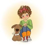 liten flicka och henne hund Royaltyfri Bild