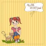 Liten flicka och henne katt Fotografering för Bildbyråer