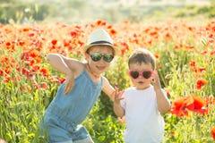 Liten flicka och hennes broder som poserar i vallmo fotografering för bildbyråer