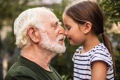 Liten flicka och hennes farfar att trycka sig på med deras näsor arkivfoto