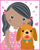 Liten flicka och hund Royaltyfri Bild