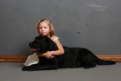 Liten flicka och hund i studion Royaltyfri Fotografi