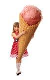 Liten flicka och mest stor glass Arkivfoton