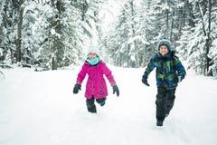 Liten flicka och pojke i vintersäsong Royaltyfria Foton