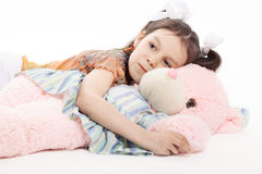 Liten flicka och Teddy Bear Fotografering för Bildbyråer