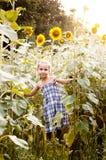 Liten flicka på ett fält av solrosor Fotografering för Bildbyråer