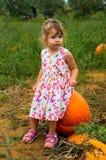Liten flicka på ett pumpafält Royaltyfri Foto