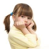 Liten flicka på vit bakgrund royaltyfri fotografi
