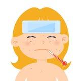Liten flicka som är sjuk med hög feber royaltyfri illustrationer