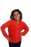 Liten flicka som bär den röda tröjan Arkivbild