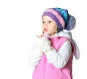 Liten flicka som bär en halsduk, jul, vinter, frost arkivbild