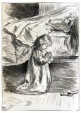 Liten flicka som ber för läggdags royaltyfri illustrationer