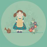 Liten flicka som en trädgårdsmästare. vektor illustrationer