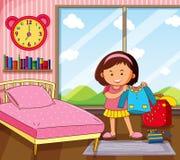 Liten flicka som får klänningen i sovrum vektor illustrationer