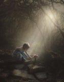 Liten flicka som finner blommor i skogen royaltyfri fotografi