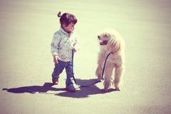 Liten flicka som går med hunden royaltyfria bilder