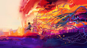 Liten flicka som går på den färgrika världen stock illustrationer