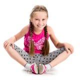 Liten flicka som gör yoga Royaltyfria Foton