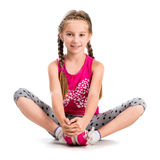Liten flicka som gör yoga Royaltyfri Fotografi