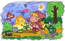 Liten flicka som gör att arbeta i trädgården Royaltyfri Bild