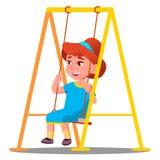 Liten flicka som har gyckel på en gunga i lekplatsvektorn isolerad knapphandillustration skjuta s-startkvinnan vektor illustrationer
