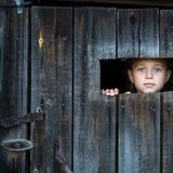 Liten flicka som kikar till och med ett mellanrum i en trälantlig ladugård Barnlek Royaltyfri Foto