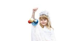 Liten flicka som kläs som snöflingor Fotografering för Bildbyråer