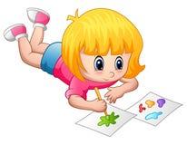 Liten flicka som ligger och målar på ett papper vektor illustrationer