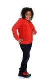 Liten flicka som poserar med den röda överkanten Royaltyfri Foto