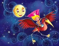 Liten flicka som rider den mekaniska fågeln Royaltyfri Illustrationer