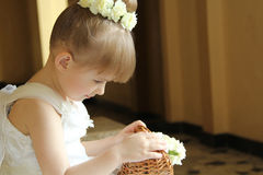 Liten flicka som rymmer korgen med blommor Arkivfoto
