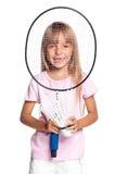 Liten flicka som spelar badminton Royaltyfria Bilder