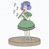 Liten flicka som spelar kvarterflöjten vektor illustrationer